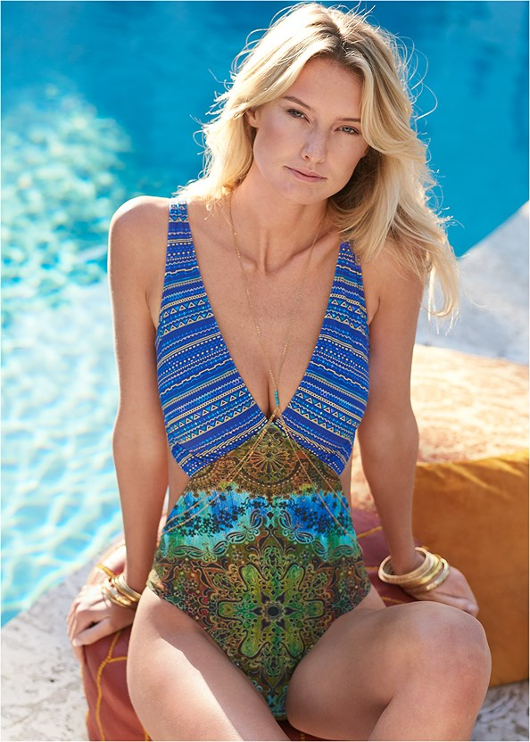 Angled Monokini,Deep V Cover-Up Tunic,Sheer Cover-Up Dress,Rhinestone Thong Sandal,Ring Handle Straw Tote