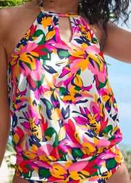 Alternate View High Neck Blouson Tankini Top