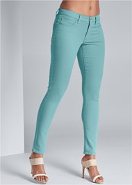 Waist down front view Mid Rise Color Skinny Jeans