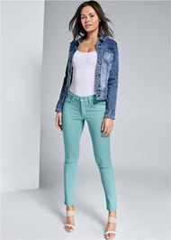 Alternate View Mid Rise Color Skinny Jeans