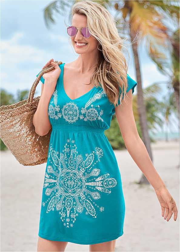 Print Dress,Crisscross One-Piece,Multi Color Stone Sandals,Long Circle Earrings