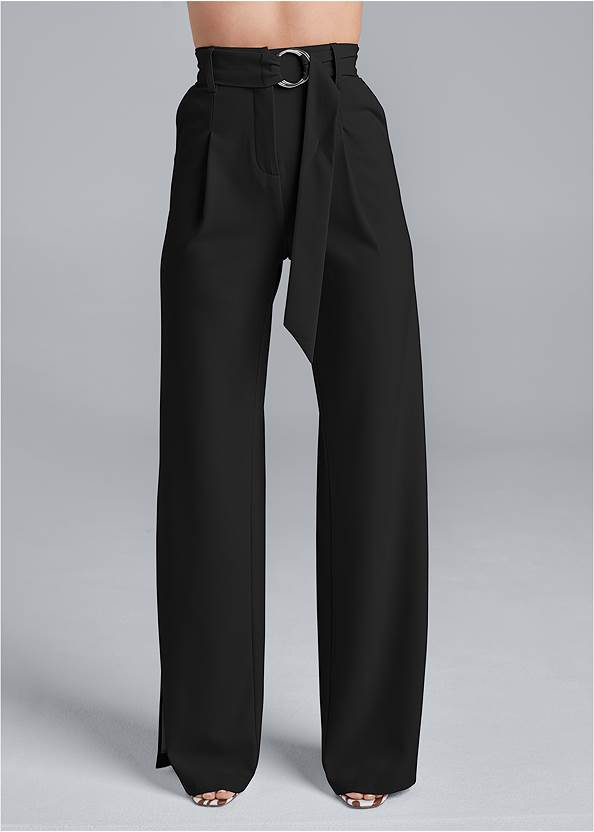 Front View Smoothing Belted Side Slit Pants
