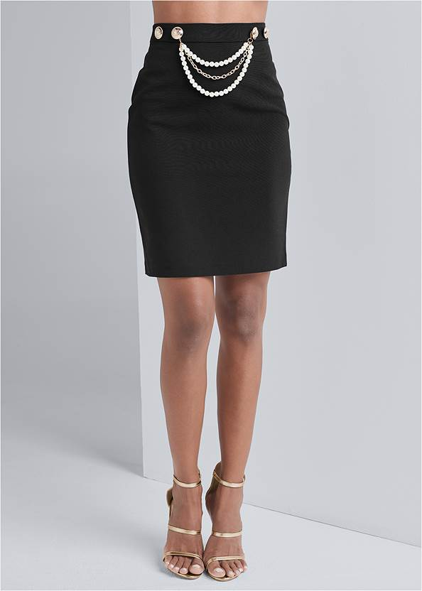 Smoothing Chain Belt Pencil Skirt,Off The Shoulder Top,Waterfall Blazer,High Heel Strappy Sandals,Chunky Chain Layer Necklace
