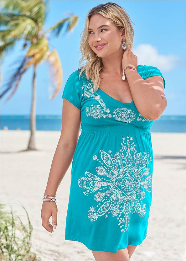 Print Dress,Underwire Twist Tankini Top,Lattice Side Bikini Bottom,Crisscross One-Piece