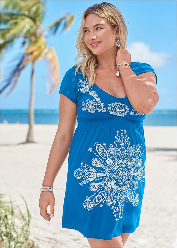 Print Dress,Lovely Lift Wrap Bikini Top,Full Coverage Mid Rise Hipster Bikini Bottom,Macrame One-Piece