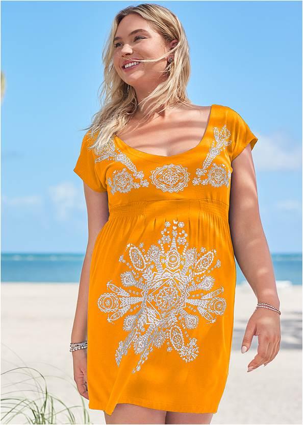 Print Dress,Goddess Enhancer Push Up Halter Top,Leila High Waist Bottom,Crisscross One-Piece