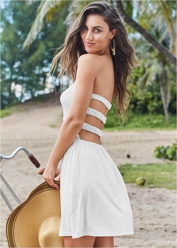 Strappy Cover Up Dress,Julie Halter Tankini Top,Mid Rise Hipster Classic Bikini Bottom,Jet Set Belted Tankini Top,Sustainable Wrap One-Piece