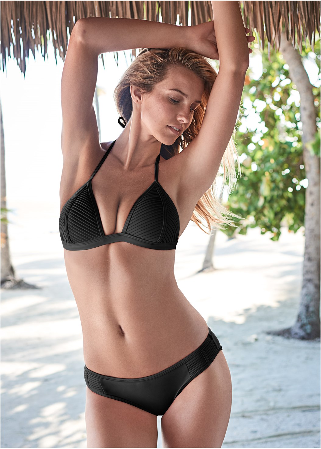 Pleated Push Up Triangle,Pleated Low Rise Bottom,Ruffle Scrunch Back Bottom,String Side Bikini Bottom,Low Rise Classic Bikini Bottom ,Scoop Front Classic Bikini Bottom ,Luxe Mid Rise Moderate Bottom,Ring Front Dolman Cover-Up,Beaded Hoop Earrings