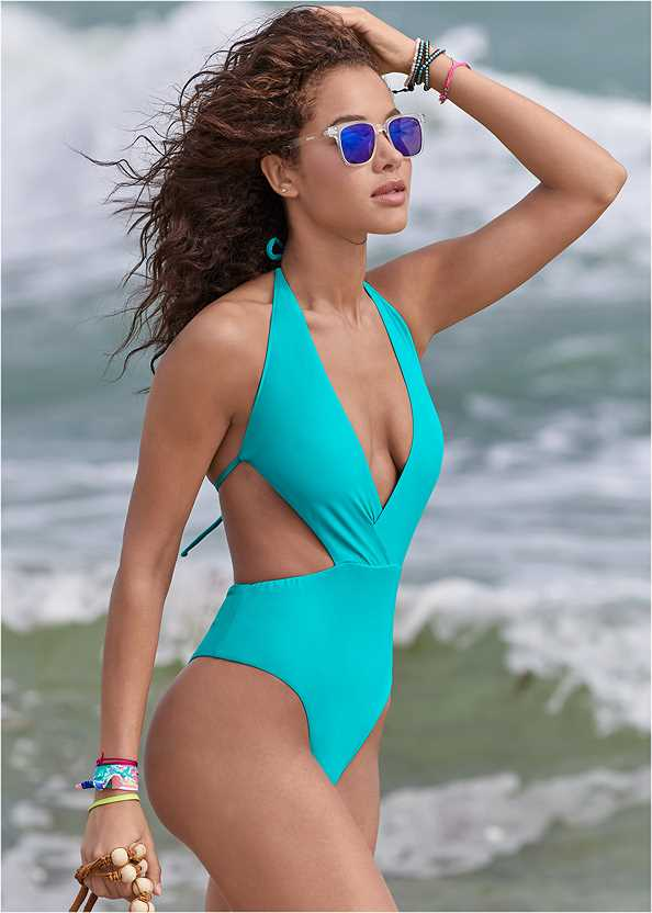 Reversible Monokini,Tie Waist Cover-Up,Slit Leg Jumpsuit Cover-Up,Embellished Rope Sandals,Ring Handle Straw Tote