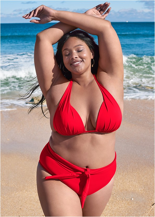 Sports Illustrated Swim™ High Waist Bottom,Sports Illustrated Swim™ Push Up Halter Top,Sports Illustrated Swim™ Double Strap Triangle Top