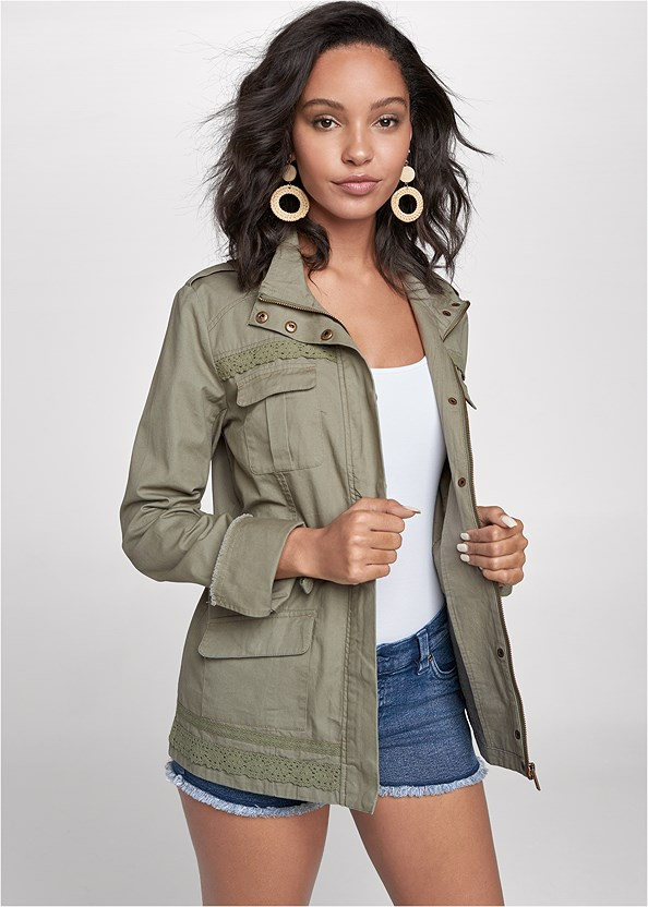 Lace Trim Utility Jacket,Basic Cami Two Pack,Frayed Cut Off Jean Shorts,Lucite Ankle Wrap Wedge