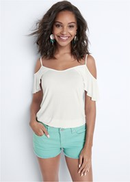 Cropped front view Frayed Cut Off Jean Shorts