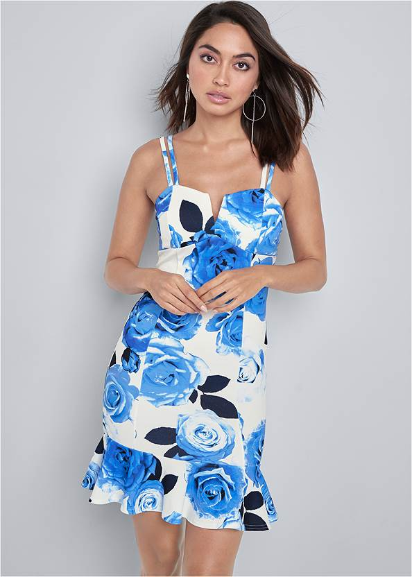 Floral Print Bodycon Dress,Square Toe Thong Heel Sandal,High Heel Strappy Sandals,Twist Handle Satchel Bag