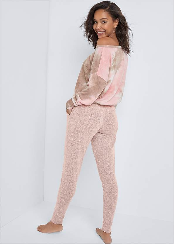 Full back view Cozy Off Shoulder Hacci Lounge Top