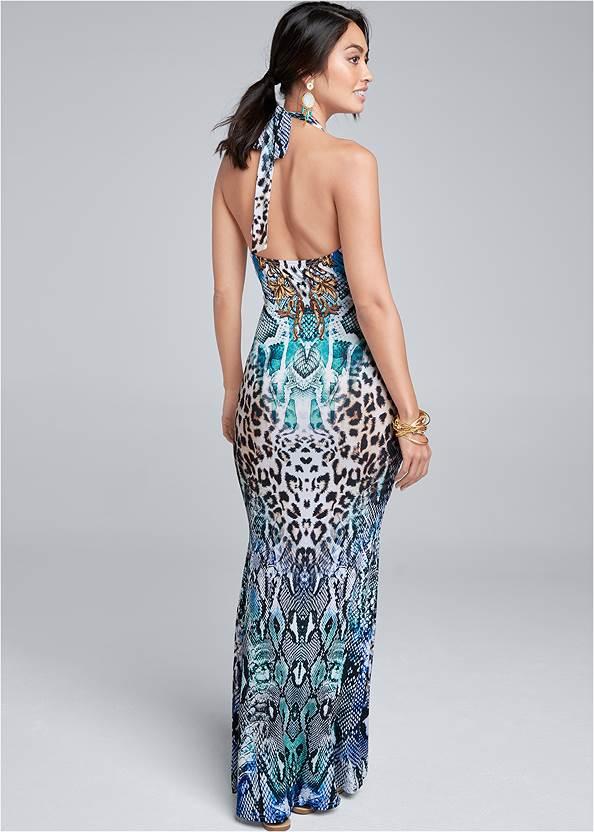 Back View Halter Printed Maxi Dress