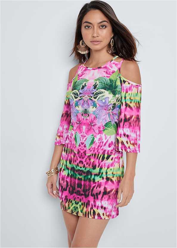 Cold Shoulder Print Dress,Jewel Toe Loop Lucite Sandal