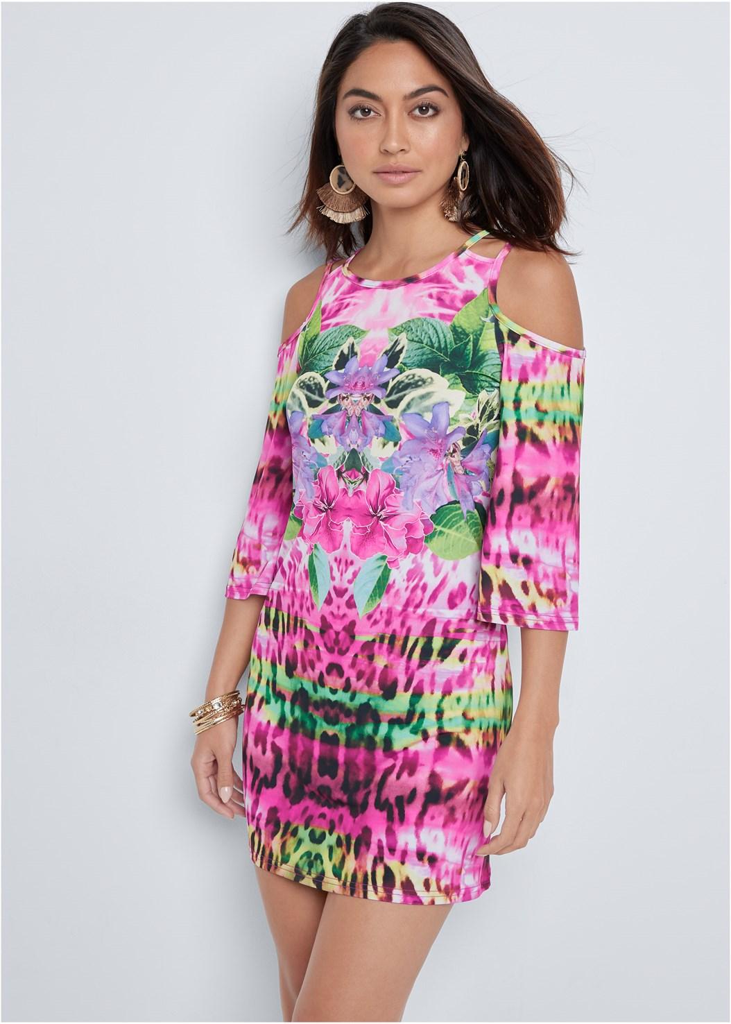 Cold Shoulder Print Dress,Jewel Toe Loop Lucite Sandal,Tortoise Fringe Earrings