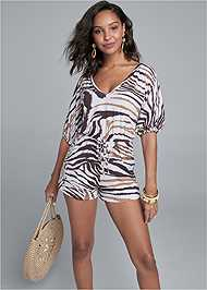 Front View Casual Print Romper