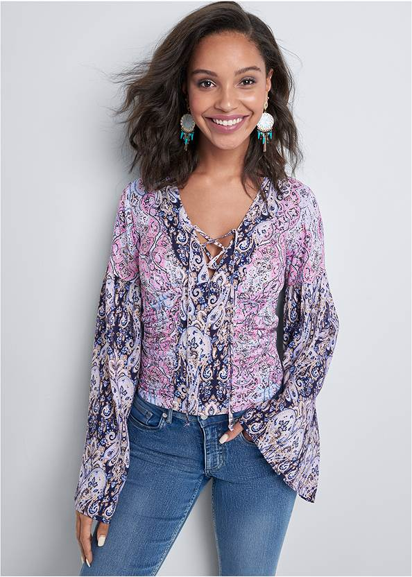 Paisley Print Top,Casual Bootcut Jeans,Rhinestone Thong Sandals