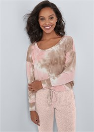 Cropped front view Cozy Off Shoulder Hacci Lounge Top