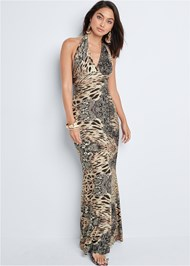 Front View Leopard Halter Maxi Dress