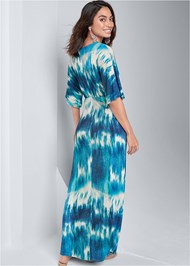 Back View Tie Dye Kimono Maxi Dress