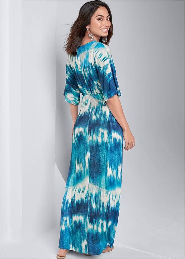 Back View Tie Dye Kimono Maxi Dress