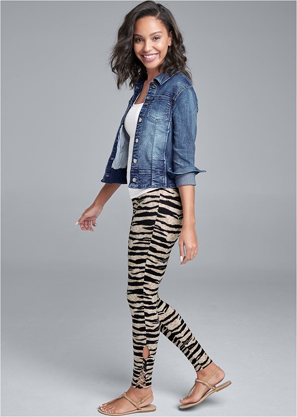Ankle Detail Leggings,Long And Lean Tank,Jean Jacket