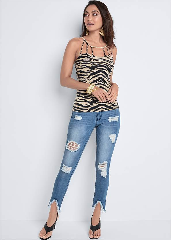 Full Front View Strappy Detail Top