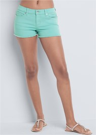 Waist down front view Frayed Cut Off Jean Shorts
