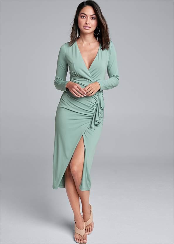 V-Neck Ruched Bodycon Dress,Square Toe Thong Heel Sandal,Hoop Detail Earrings