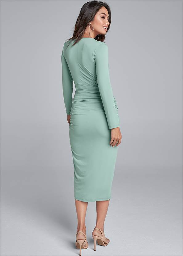 Full back view V-Neck Ruched Bodycon Dress