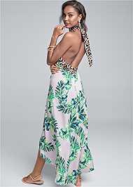 Back View Palm Leopard Print Dress