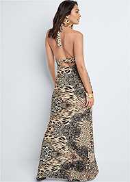 Back View Leopard Halter Maxi Dress