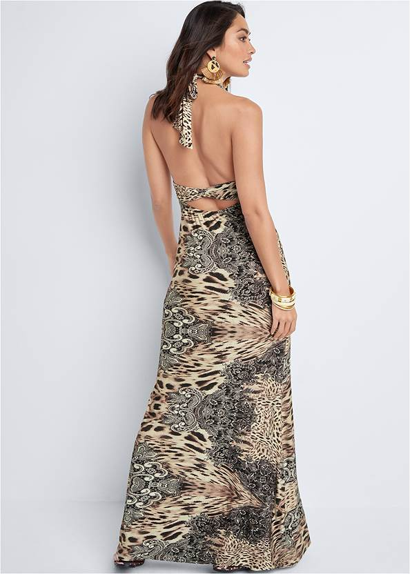 Back View Leopard Halter Maxi Dress