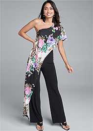 Front View One Shoulder Jumpsuit