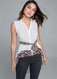 Front View Leopard High Low Blouse