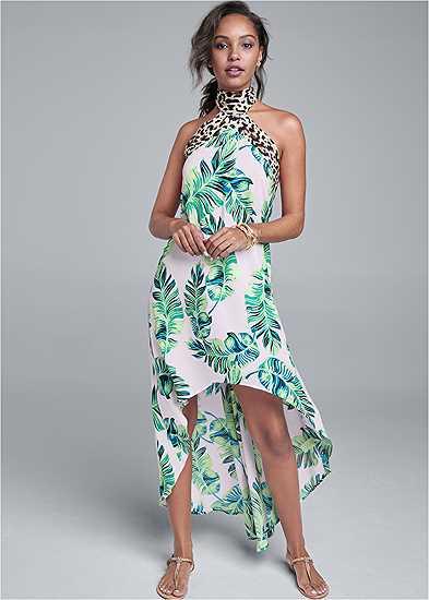 Palm Leopard Print Dress