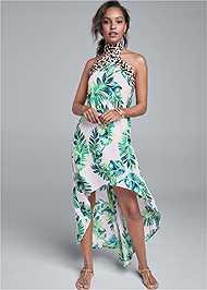 Front View Palm Leopard Print Dress