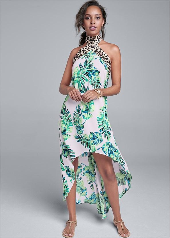 Palm Leopard Print Dress,Shell Fringe Earrings