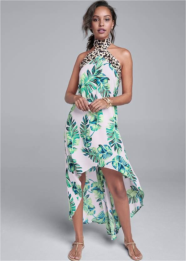 Palm Leopard Print Dress,Rhinestone Thong Sandals