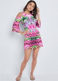 Alternate View Cold Shoulder Print Dress
