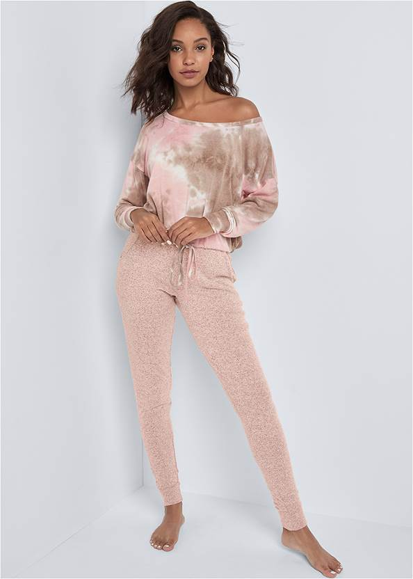 Full front view Cozy Off Shoulder Hacci Lounge Top