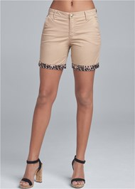 Cropped Front View Leopard Trim Shorts