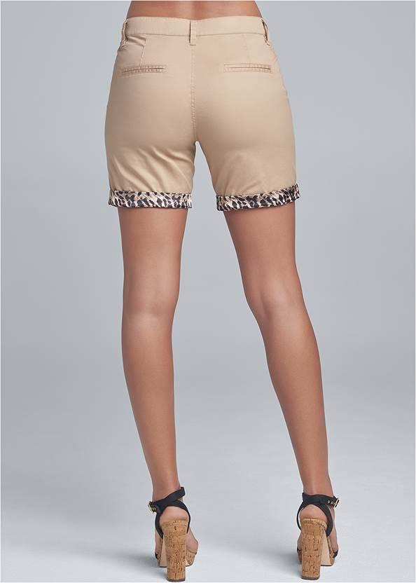 Waist down back view Leopard Trim Shorts