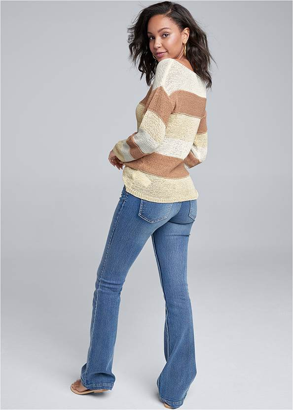 Back View Striped Sweater