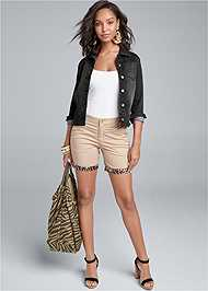 Full Front View Leopard Trim Shorts