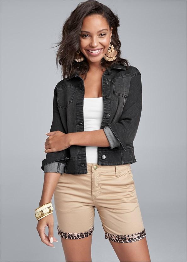 Leopard Trim Shorts,Basic Cami Two Pack,Jean Jacket,Ankle Strap Cork Heel,Tortoise Fringe Earrings