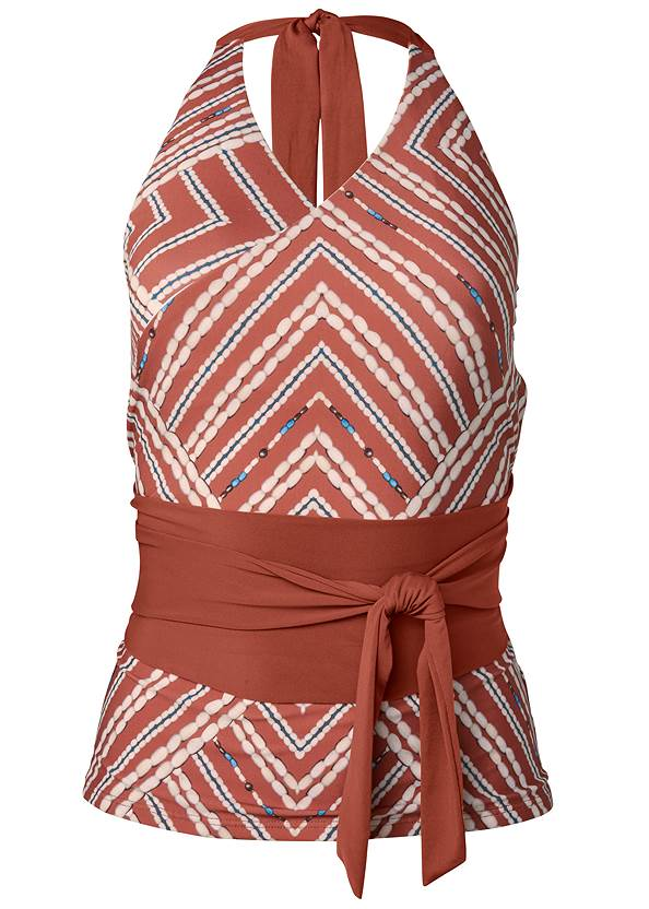 Ghost with background  view Sustainable Wrap Tankini Top