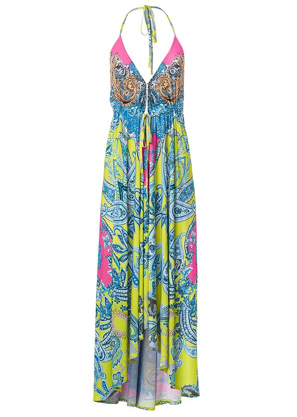 Alternate View Printed Halter Neck Dress